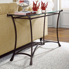 "Hammary - Sutton Sofa Table in Dark Burnished Steel Finish - ""Seldom does furniture come along that stops you in your tracks and stuns you with its vibrancy and verve. That's known as the """"wow"""" factor. But it has also has another name -""""Sutton"""" from Hammary."