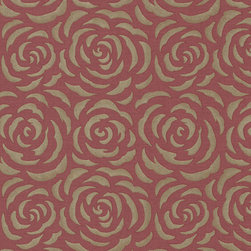 Brewster Home Fashions - Rosette Red Rose Pattern Wallpaper Swatch - This gorgeous red and gold wallpaper treats your room to a modern rose print with luxe metallic inks. With a boutique style raspberry linen and shimmering screen print of abstract petals this design has a high end contemporary glamour.