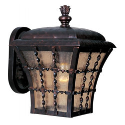 Joshua Marshal - One Light Oil Rubbed Bronze Amber Seedy Glass Wall Lantern - One Light Oil Rubbed Bronze Amber Seedy Glass Wall Lantern