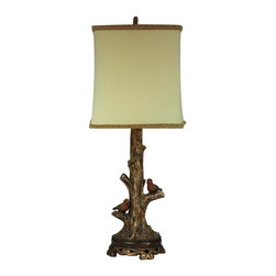 Joshua Marshal - Birds On A Branch Accent Lamp With Gold Leaf Base - Birds On A Branch Accent Lamp With Gold Leaf Base