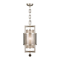 Fine Art Lamps - Singapore Moderne Silver Lantern, 590040-2ST - If you need a light fixture to go above and beyond, look no further. This hanging lantern transcends trends and styles for a look that can be modern, Asian, Arts and Crafts or Cottage. Its graceful lines, double shades and handblown glass ball finial will all add up to glowing, unsurpassed reviews.