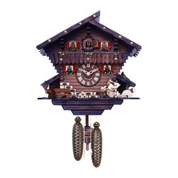 River City Cuckoo Clocks - Eight Day Chalet Cuckoo Clock with Carved Deer, Dog, and Beer Drinker - This chalet style German cuckoo clock features wooden hands, a wood dial with Roman numerals, and a warm light yellow hand-painted and hand-carved cuckoo bird. The cuckoo clock features a fisherman fishing in a small pond.  Every hour when the clock cuckoos the beer drinker raises and lowers his mug. Two cast iron pine cone weights are suspended beneath the clock case by two separate brass chains.  -The hand-carved shield pendulum continously swings back and forth which controls the timing of the clock.   -If your cuckoo clock's timing should ever need adjustment, you can control the speed of your clock by sliding the shield up or down the pendulum stick. Sliding the shield down causes the cuckoo clock to run slightly slower, while sliding the maple leaf up makes the cuckoo clock run slightly faster.  -On every hour the cuckoo bird emerges from a swinging door above the clock dial and counts the hour by cuckooing once per hour. (Example: At one o'clock the bird will cuckoo once. At eight o'clock the bird will cuckoo eight times) The half hour is announced with one cuckoo call.   -The eight day movement, which is made in Germany, will run for 8 days.  It is wound once per eight days by raising the two pine cone weights. One weight powers the time and the other weight powers the cuckoo and cuckoo call.  -Great effort has been made to portray each cuckoo clock as accurately as possible. As with many handmade items, the exact coloration and carving may vary slightly from clock to clock. We consider this to be a special part of their character.  This clock is covered by a two year limited warranty covering workmanship and manufacturers defects. River City Cuckoo Clocks - 806-12