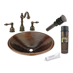 """Premier Copper Products - 20"""" Oval Self Rimming Sink w/ ORB Faucet - PACKAGE INCLUDES:"""