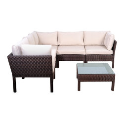 International Home Miami - Atlantic Infinity 6-Piece Wicker Seating Set in Dark Brown - Great quality, stylish design patio sets, made of aluminum and synthetic wicker. Polyester cushion with water repellant treatment. Enjoy your patio with elegance all year round with the wonderful Atlantic outdoor collection.