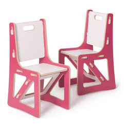 Kids Chair Set, Pink and White