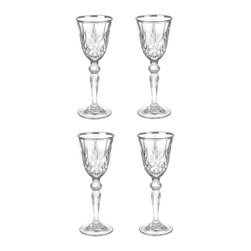 """Lorren Home Trends - Reagan Collection Set of 4 Crystal Cordial Liquor Glass with silver band design - Set of 4 Crystal Cordial Liquor Glass with a silver band design, Lorren Home Trends DaVinci Line.   The Reagan Collection features an elegant lead free cut crystal design with a brilliant silver band for a luxurious look.  Made in the Tuscan region of Italy.   Each glass measures 2"""" x 2"""" x 5.25"""" tall and holds 1.5 ounces of your favorite beverage.   Hand Wash.  Made in Italy."""