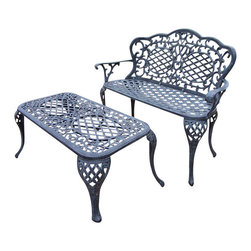 Oakland Living - Oakland Living Mississippi Lattice Pattern 2-Piece Loveseat Set in Verdi Gray - Oakland Living - Outdoor Sofa Sets - 200620072VGY - About This Product: