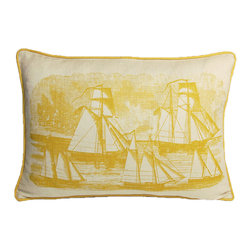 Kevin O'Brien Studio - SAI1420, Yellow Submarine - Our brightly colored nautical prints are screen printed onto 100% linen; piped edging; zip closure; feather/down insert included; designed in Philadelphia and made in Nepal