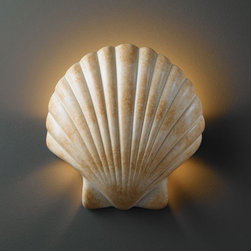 Justice Design Group - Ambiance Scallop Shell Scallop Shell Bathroom ADA Wall Sconce - - Scallop Shell Wall Sconce.  - Made in USA  - Shade Material - Ceramic Justice Design Group - CER3730SEAS