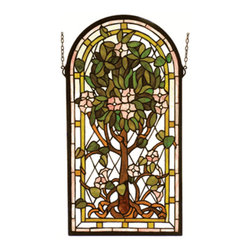 """Meyda Tiffany - Meyda Tiffany 99049 Stained Glass Tiffany Window Arts & Crafts Collecti - 15"""" W 29"""" H Arched Tree Of Life WindowThis Stylized Version Of Louis Comfort Tiffany's Famous Tree Of Life Is A Meyda Original Design. A Bark Brown Tree With Plum Pink FlowersIncludes Mounting Brackets and Chains"""