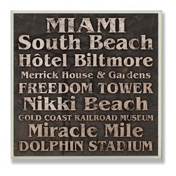 Stupell Industries - Miami Typography Landmarks Square Wall Plaque - Made in USA. Ready for Hanging. Hand Finished and Original Artwork. No Assembly Required. 12 in L x .5 in W x 12 in H (2 lbs.)Made in USA! celebrate your favorite city with a distressed hand-painted wall plaque. Featuring trendy typography-styled letters in a monochromatic color scheme, these plaques will add edgy appeal to any room of your house. Measuring 15 x 10, each plaque is constructed of sturdy medium-density fiberboard with coved and painted borders and a sawtooth hanger for simple installation.