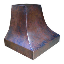 """myCustomMade - Rustic Hammered Copper Range Hood """"Pensilvania"""", Coffee, 48"""", Wall Mount - French design makes this rustic hammered copper range hood a great addition to the kitchen. Customize the rustic copper hood by choosing natural fired, coffee, honey or antique finishing. """"Pensilvania"""" style is produced as 30, 36 or 48 inches wide. Its depth is 22"""", height 36"""" and it takes about thirty days to deliver. Once purchased specify the hood 210000026 version as wall mount or kitchen island. Enjoy free delivery."""