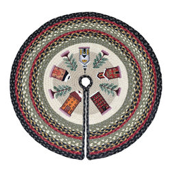 "Earth Rugs - Winter Village Printed Tree Skirt (30"" x 30"") - For the holidays, add this festive tree skirt to your Christmas tree for a decorative touch."