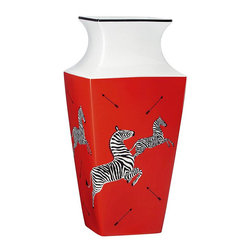 Scalamandre by Lenox Zebra Red Bud Vase, Large - Use your creativity to turn empty corners into works of art. A big, over-sized vase or a collection of medium-sized vases on the floor in the corner becomes a magical, artsy design moment.