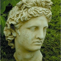 Bust of Apollo Garden Statue - The Bust of Apollo Garden Statue will add classic Greek sophistication to your home or garden. This impressive weather-resistant statue is cast from a rubber mold for a seamless finish. It has a beautifully detailed face that's made to look just like its arcane counterparts. This statue features a weathered-looking finish that is reminiscent of the actual carvings found in ancient Greece.