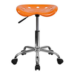 Flash Furniture - Flash Furniture Vibrant Tractor Seat and Chrome Stool in Orange - Flash Furniture - Drafting Chairs - LF214AORANGEYELLOWGG - on the market for a stool but want to add a little color to your home or office? This sleek modern stool conforms to several areas in the home or office. The molded tractor seat offers great comfort. The small frame design of this backless stool makes it easy to maneuver around tight spaces with ease. This stool can be used for a variety of reasons other than just at a desk and is offered at a very affordable price. [LF-214A-ORANGEYELLOW-GG]