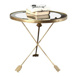 Uttermost Aero Glass Top Accent Table - Artistically forged iron with antiqued gold leaf and tempered glass top encircled by an antiqued mirror accent. Artistically, forged iron with antiqued gold leaf finish and tempered glass top encircled by an antiqued mirror accent.