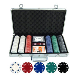 JP Commerce - Suited Poker Set - 300 suited style. Two decks of playing cards. Five red dice. Dealer button. 11.5 gram clay composite poker chips. Aluminum poker chip case. Color combination: 100 White, 50 Red, 50 Blue, 50 green, 50 Black. Weight: 15 lbs.