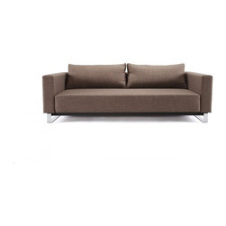 """""""Innovation USA"""" Cassius Sleek Excess Lounger Sofa Bed in Begum Olive - Easily converting into a Queen size Bed, the """"Innovation USA"""" Cassius Sleek Excess Lounger Sofa Bed in Begum Olive is a must-have piece for any small living area. Just pull the seat and fold down the backrest to convert the piece into a bed. The sofa bed features durable construction made with chrome legs, patented 10"""" iComfort mattress, and durable fabric upholstery."""