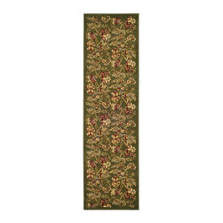 Safavieh - Lyndhurst Collection Floral Sage Runner (2'3 x 8') - Welcome your guests and protect your wood floors with an attractive runner area rug. This Lyndhurst Collection fringe-free runner is made of an easy-to-clean polypropylene pile in a floral pattern in rich shades of green, blue, and red.