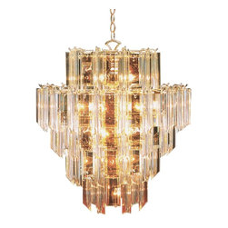 Trans Globe Lighting - 7166 PB Acrylic Beveled 16 Light ChandelierBack To Basics Collection - Add contemporary style gracefully with draped strands of flowing light. Acylic chandeliers are light weight and always glimmering.