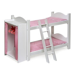 Badger Basket - Badger Basket Pink Gingham Princess Doll Bunk Bed with Armoire - 01856 - Shop for Dollhouses and Dollhouse Furnishings from Hayneedle.com! When your little one wants to have a baby doll sleepover the Badger Basket Pink Gingham Princess Doll Bunk Bed with Armoire provides the perfect place for imaginative playtime. Its attached armoire comes complete with tiny hangers for doll clothes and charming pink curtains. The bunk beds feature small mattresses in pink and scalloped details on the head and footboards. A removable ladder makes this adorable bunk even more realistic and fun. Your little princess can use this play set for dolls or stuffed animals up to 22-inches. All paint is non-toxic. Some assembly required. Recommended for children ages 3 and up. Not for use with real infants or pets. Badger Basket CompanyFor over 65 years Badger Basket Company has been a premier manufacturer of baskets bassinets bassinet bedding changing tables doll furniture hampers toy boxes and more for infants babies and children. Badger Basket Company creates beautiful and comfortable products that are continually updated and refreshed bringing you exciting new styles and fashions that complement the nostalgic and traditional products in the Badger Basket line.