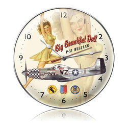 Past Time Signs - Big Beautiful Doll Vintage Clock - This vintage clock is hand made with pride in the USA using heavy gauge American steel. The high-resolution graphics are sublimated and powdercoated for a long-lasting durable finish. Then, it's worked over by hand to give it that vintage look and feel. The high-resolution graphics are sublimated and powdercoated for a long-lasting durable finish. It's perfect for your %customfield:genre% Man Cave, Game Room, Office, or anywhere you want to show love for your favorite things.