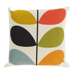 Open Bloom Throw Pillow in Multi-Color - Add whimsical interest to your space with this throw pillow. Made in Portugal and designed by Orla Kiely, it's sure to add an energetic yet soothing vibe to any room. Toss one on a couch, chair, or bed for a comfy-cozy splash of design.