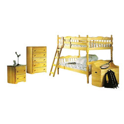 "Acme - Twin / Twin Convertible Wooden Bunk Bed Set Natural Finish - Twin / Twin convertible wooden bunk bed set natural finish, mattresses not included. Measures 80"" x 41"" x 61""H. Other items also available separately. Some assembly required."