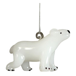 Glass Polar Bear Ornament - Opaque White - A sweet Arctic element for adding character to a holiday tree or an empty window, the Glass Polar Bear Ornament celebrates a creature of the snowbound North in an artisanal form.  This striking black and white glass ornament is superb for a monochrome seasonal palette or a minimalist decorating scheme and makes a quality keepsake for anyone fond of animals.