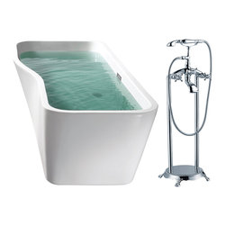 """AKDY - AKDY AK-ZF769 67"""" European Style White Acrylic Free Standing Bathtub w/ Faucet, - AKDY free standing acrylic bathtubs come in many styles, shapes, and designs. The acrylic material used for tubs is very durable, light weight, and can be molded into a variety of shapes and styles which explain the large selection available in this product category. Acrylic free standing tubs are a cost efficient way to give your bathroom a unique beautiful touch. A bathtub is no longer just a piece of cast iron metal thrown into a bathroom by a builder."""