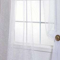 EFF - White Poly Voile Sheer Curtain Panel Pair - Adding a touch of elegance to any room is simple with white sheer curtain panels. These gorgeously designed curtains complement any decor,as they provoke a warm and traditional feeling,allowing natural light to filter in and fill the room.