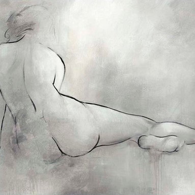 Quiet Moments II Artwork - Clocking in at five feet wide, this painted canvas of a traditional nude figure study has your walls well covered.