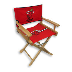 Guidecraft - Miami Heat Junior Director`s Chair - Little Heat fans will go wild for this officially licensed Miami Heat junior director`s chair. This fun director`s chair displays the official logos and colors of the Miami Heat on both the seat and seat back! Hand crafted and hand painted, this ultimate fan, quality furniture is sure to become an instant favorite sitting spot! The Heat junior director`s chair features a canvas back and seat, a solid birch frame and a clear coat finish. The seat back is secured with hook and loop tape, yet easily lifts off, and the hinged arms fold down allowing the seat to slide out for ease of cleaning. The rear crossbar has a safety latch that locks and must be pushed in to fold the chair, ensuring your child`s safety! This chair measures 30 inches high, 18 7/8 inches wide, 15 3/4 inches deep with a seat height of 17 1/4 inches. This chair will be a slam dunk for your little fans!!