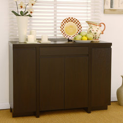 Furniture of America - Furniture of America Holland Red Cocoa Buffet Cabinet - Keep your dining area free of clutter with this gorgeous dark buffet cabinet. Spacious enough to hold your most frequently used entertaining and serving essentials, this will allow you to replenish supplies while staying close to the action.