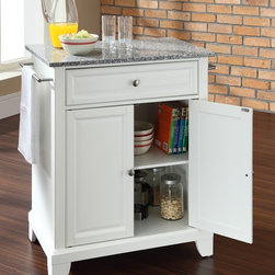 Crosley Furniture - Newport Solid Granite Top Portable Kitchen Is - Newport Collection. 1 Adjustable shelf. 1 Drawer. 2 Beautiful raised panel doors. 2 Towel Bars. Solid Granite top. Solid hardwood and veneer construction. Hand rubbed multi-step finish. Brushed Nickel hardware. Assembly required. 1-Year manufacturer's warranty. 28.25 in. L x 18 in. W x 36 in. H (135.3 lbs.)