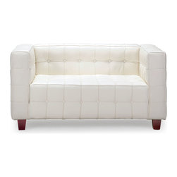 Zuo - Button Loveseat, White - The Button loveseat brings sophistication and luxury into any space.  This loveseat has leather seating and and leatherette sides and back for durability and easy cleaning.  The legs are made of wood.  Available in black and white.