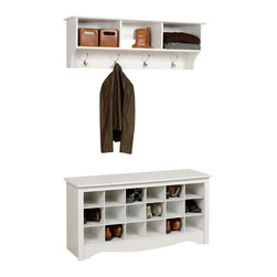 Prepac - Prepac Sonoma White 2 Piece Shoe Bench Entryway Set - This intelligent & practical storage design is well suited for any front hallway, mudroom or home office. The three storage compartments are ideal for hats, gloves and schoolbooks while four large hooks hold coats & jackets. Comes with our easy to install, two-piece hanging rail system and is an ideal companion piece for the Cubbie Bench. Constructed from a combination of high quality, laminated composite woods with an attractively profiled MDF top. Doesn't it make sense to have your shoes stored in the same place as you put them on?B This dual purpose product is a bench with shoe storage so everything is right where you need it. It's a great addition to a front entranceway, mudroom, or utility room. Available in Black or White Finish