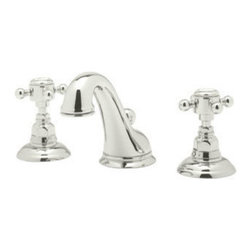Rohl - Rohl Viaggio C Spout Widespread Bathroom Faucet in Polished Nickel - The Picture shows cross handles on the faucet but the one we are selling will have lever handles