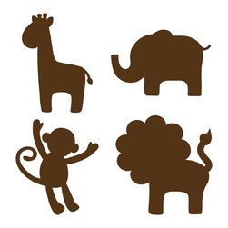 """WallPops - Espresso Brown Jungle Silhouettes Wall Decal - Espresso Brown Jungle Animal wall art will match with any decor and is especially chic in a nursery. These wall decals capture a lion, an elephant, and a giraffe in the cutest of poses, guaranteed to make your baby smile. The warm brown tone also coordinates wellwith WallPops dots, blox, and stripes for an adorable Safari theme. Jungle Silhouettes come with four 13"""" x 13"""" sheets."""