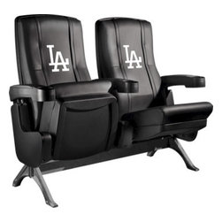 Dreamseat Inc. - Los Angeles Dodgers MLB Alt Logo Row One VIP Theater Seat - Single - PLEASE NOTE: This item is the single chair, not multiple as shown in the photo. We do not have photos of an individual chair by itself. Check out this fantastic home theater chair. This is the same seat that is in the owner's VIP luxury boxes at the big stadiums. It has a rocker back and padded seat, so it's unbelievably comfortable - once you're in it, you won't want to get up. Features a zip-in-zip-out logo panel embroidered with 70,000 stitches. Converts from a solid color to custom-logo furniture in seconds - perfect for a shared or multi-purpose room. Root for several teams? Simply swap the panels out when the seasons change. This is a true statement piece that is perfect for your Man Cave, Game Room, basement or garage.
