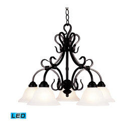 Elk Lighting - Landmark Lighting Buckingham 5-Light Chandelier in Matte Black - LED - 800 Lumen - 5-Light Chandelier in Matte Black - LED - 800 Lumens belongs to Buckingham Collection by Landmark Lighting The Buckingham Family Of Transitional Fixtures Is ScaLED For Impact. The Hand-Forged Iron Frames Have Square Cut Arms With A Matte Black (Bk) Finish And White-Faux Marble Glass Shades. - LED, 800 Lumens (4000 Lumens Total) With Full Scale Dimming Range, 60 Watt (300 Watt Total)Equivalent , 120V Replaceable LED Bulb Included Chandelier (1)