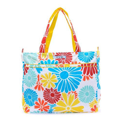 Ju Ju Be - Ju Ju Be Super Be Diaper Bag - Flower Power - 12FF02A-FLP - Shop for Diaper and Bottle Bags from Hayneedle.com! Fun practical and stylish the Ju Ju Be Super Be Diaper Bag - Flower Power has enough space for everything you need. This extra-large tote features 12-inch straps for comfortable carrying of everything you could possibly need for a trip to the store the park or even the beach. It's big enough not only for diapers but toys books towels and your own personal electronics. The Super Be includes two interior mesh pockets and one extra-long zippered pouch a convenient key clip so you don't have to stand around digging for your keys three exterior pockets in the front and a large back pocket with snap closure. The outside is made from Teflon protected fabric in your choice of stylish pattern that will never stain and the light-colored lining features AgION natural antimicrobial treatment to reduce odor and fight mold mildew germs fungus and bacteria. The Ju Ju Be Super Be Diaper Bag measures 18W x 5.5D x 15H inches and is 100% machine washable. Additional Features Tote straps have a 12-inch drop Zippered closure keeps everything secure 2 interior mesh pockets 1 extra long interior zippered pockets Extra long key clip inside of the tote 3 exterior pockets on the front Large back pocket is perfect for folders and papers Teflon exterior means stains don't stick Lining kills germs mold mildew fungus and bacteria Flower power design Machine washable and air dry for your convenience About Ju-Ju-BeJu-Ju-Be was started by the dynamic duo of diaper bags. Why did they start up a whole new brand? Because despite the great fashion (and even some great features) of the other brands there were still some things lacking. No one had put to use the latest in technology. No one had successfully acted on the idea that fashion and function aren't mutually exclusive. No one else had delved into the deep realm of microbes and anti-stick coatings. Everyone else says that diap