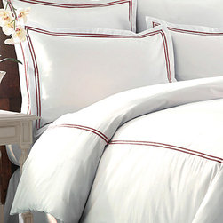 Colonial Home Textiles - Red & White Three-Piece Double Marrow Duvet Set - Drift off to dreamland with this classy set that features supersoft cotton for supportive comfort and double marrow construction for added durability and style.   Includes duvet and two shams 55% cotton / 45% polyester 600-thread count Machine wash Imported