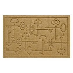 Bungalow Flooring - Aqua Shield 2'x3' Keys to the City Doormat, Gold - Premium 24-oz. anti-static polypropylene mat traps dirt, water and mud.