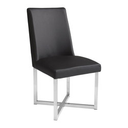 Sunpan - Howard Faux Leather Dining Side Chair - Set of 2 - SUNP234 - Shop for Dining Chairs from Hayneedle.com! Make a statement at your dining table with the Howard Faux Leather Dining Side Chair - Set of 2. Stainless steel intersecting legs provide a beautiful and contrasting foundation for the high-back chair upholstered in faux leather.About SunpanSunpan is a global furniture company. They specialize in designing and manufacturing contemporary- and transitional-style furnishings. Sunpan takes pride their designs which reflect international trends in fashion and interior design. Sunpan is the ideal choice for your modern home.