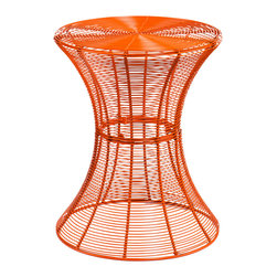 Holly & Martin - Metal Spiral Accent Table, Orange - Don't be fooled by the delicate appearance of this whimsy little table — it's built to last, and happy to live outside on the patio or be invited inside the house. Whether you choose a bright candy color or stick with classic black, the laid-back, breezy vibe of this clever accent table is sure to make you smile.