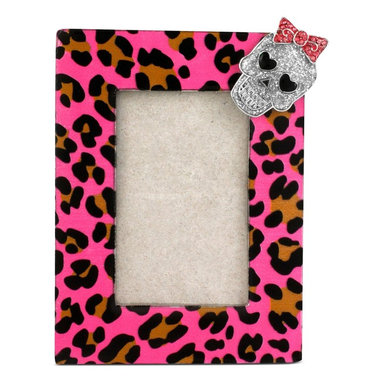 Betsey Johnson Antique Silver-Tone Pink Leopard and Skull Picture Frame -