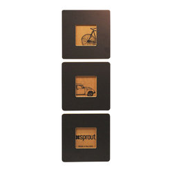 Quark Enterprises - Modern Triptych Frame Set, Gray - These modern picture frames are made from recycled materials and made in the USA. Not only do they look cool, but you'll feel good about the way they were manufactured.