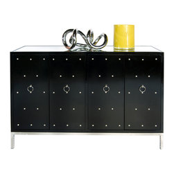 """Worlds Away - Worlds Away Studly Black Lacquer Buffet - The aptly named Studly buffet gets its cool and contemporary vibe from black lacquered doorfronts dotted in nickel studs. A metal base and mirror top add shine to this industrial-inspired Worlds Away piece. 52""""W x 22""""D x 35""""H. Black lacquered wood. 4 doors. Fixed interior shelf. Beveled mirror top. Polished nickel base, studs and ring pulls."""